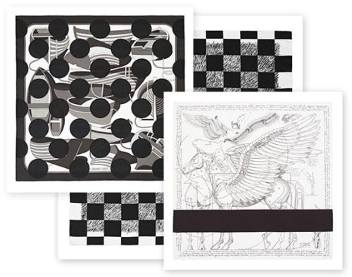"""COMME des GARÇONS X HERMÈS """"COMME des CARRÉS"""" Black & White Scarf Collection"""